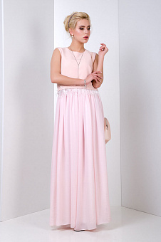 Evening gentle dress long pink