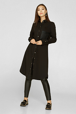 Trench coat black with leather pocket buttons, code 2211