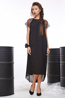 Evening dress with black guipure