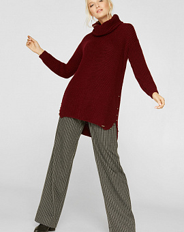 Jumper knitted with side cuts burgundy, code 2228