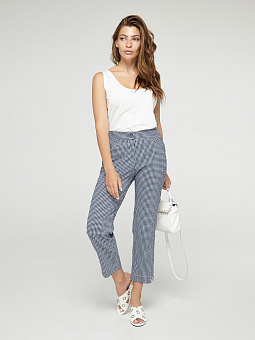 Trousers female summer in a blue cell, a code 2340