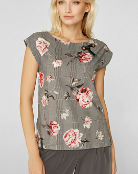 Blouson direct silhouette with rose print